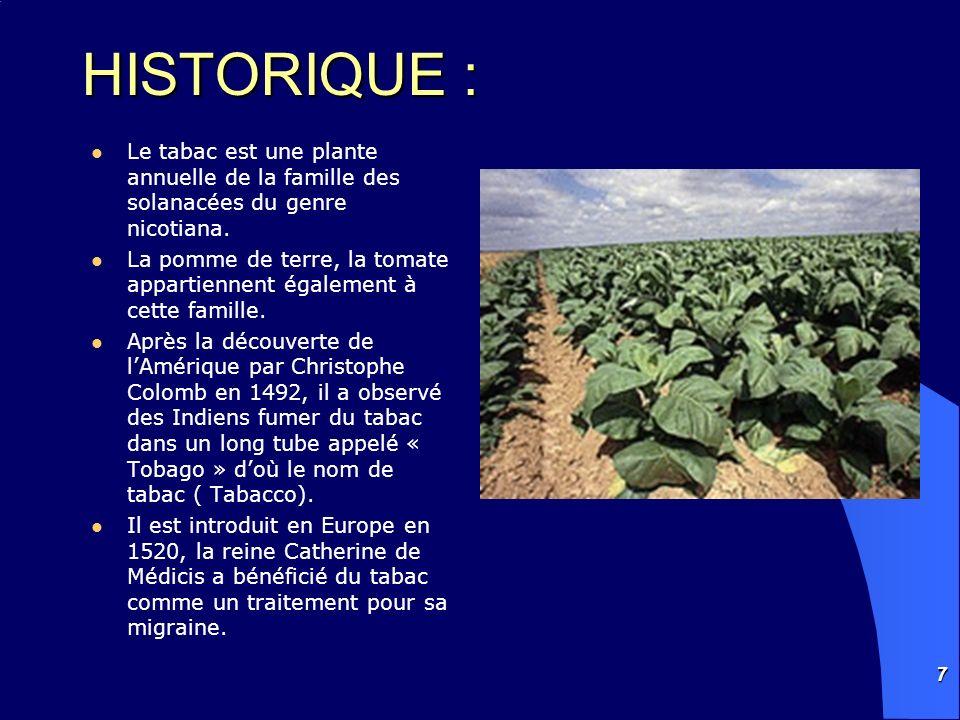 HISTORIQUE : Le tabac est une plante annuelle de la famille des solanacées du genre nicotiana.