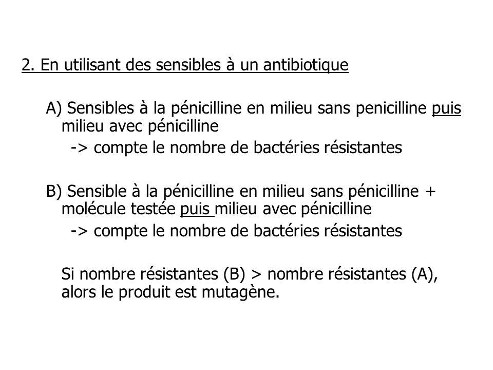 2. En utilisant des sensibles à un antibiotique