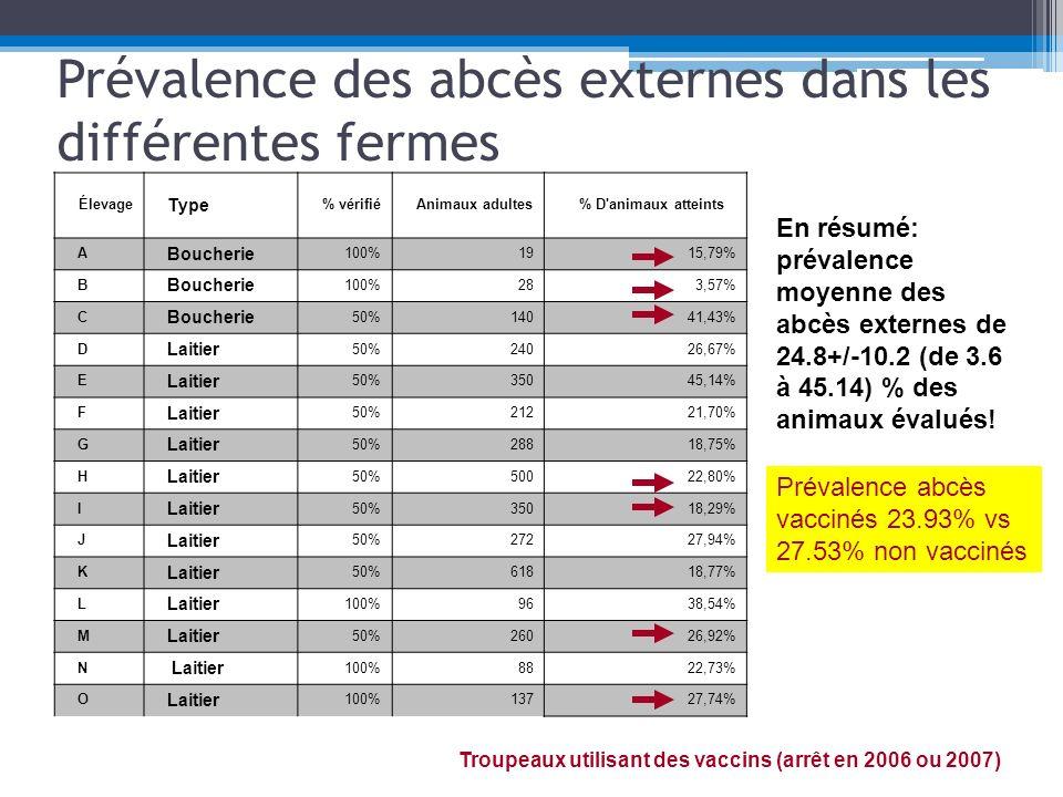 Prévalence des abcès externes dans les différentes fermes