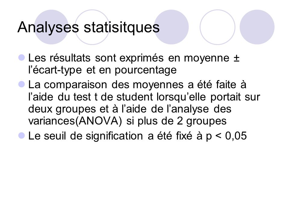 Analyses statisitques