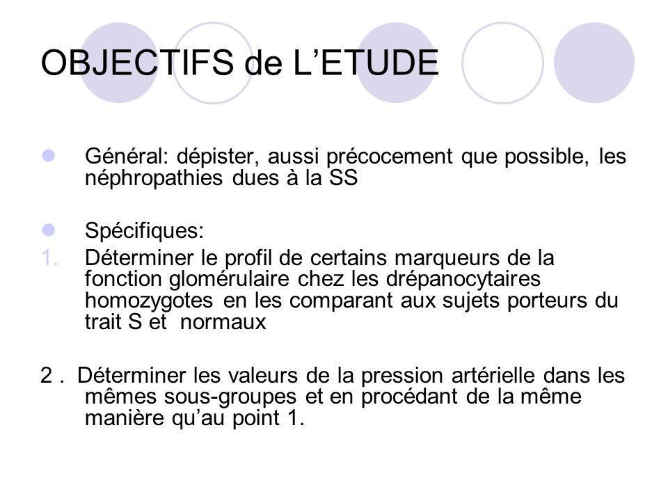OBJECTIFS de L'ETUDE Général: dépister, aussi précocement que possible, les néphropathies dues à la SS.