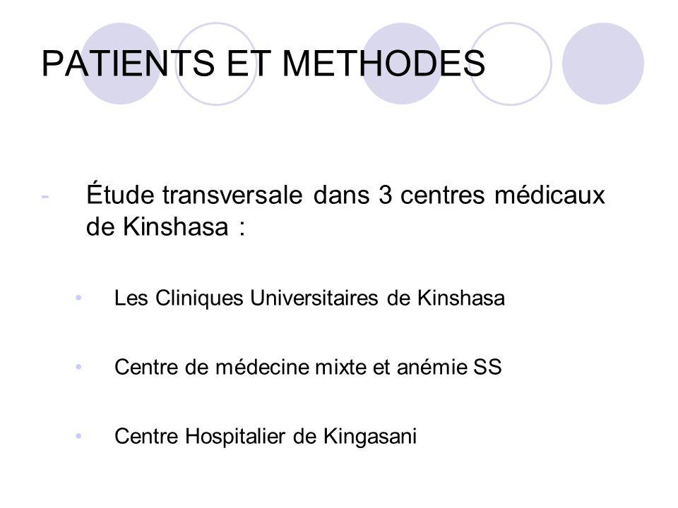 PATIENTS ET METHODES Étude transversale dans 3 centres médicaux de Kinshasa : Les Cliniques Universitaires de Kinshasa.