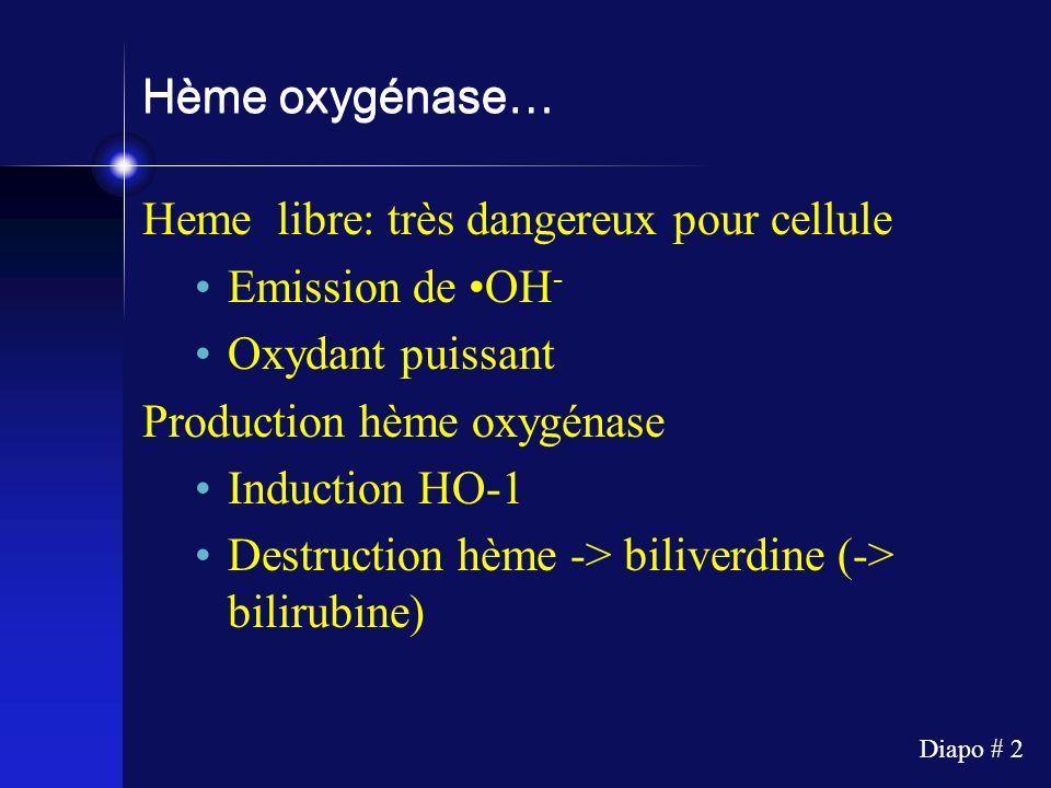Hème oxygénase… Heme libre: très dangereux pour cellule. Emission de •OH- Oxydant puissant. Production hème oxygénase.