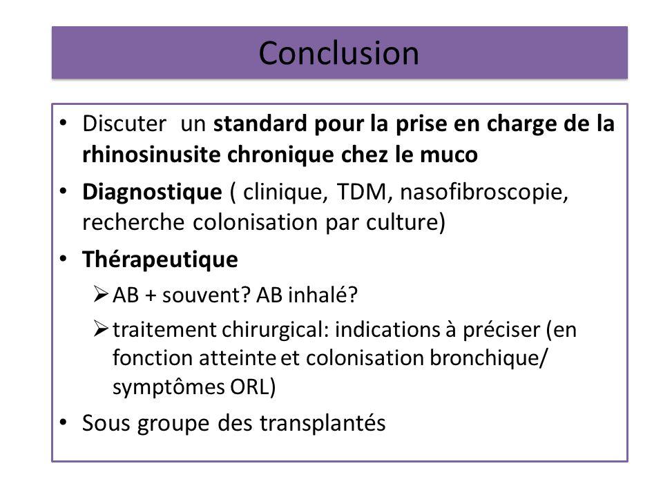 Conclusion Discuter un standard pour la prise en charge de la rhinosinusite chronique chez le muco.