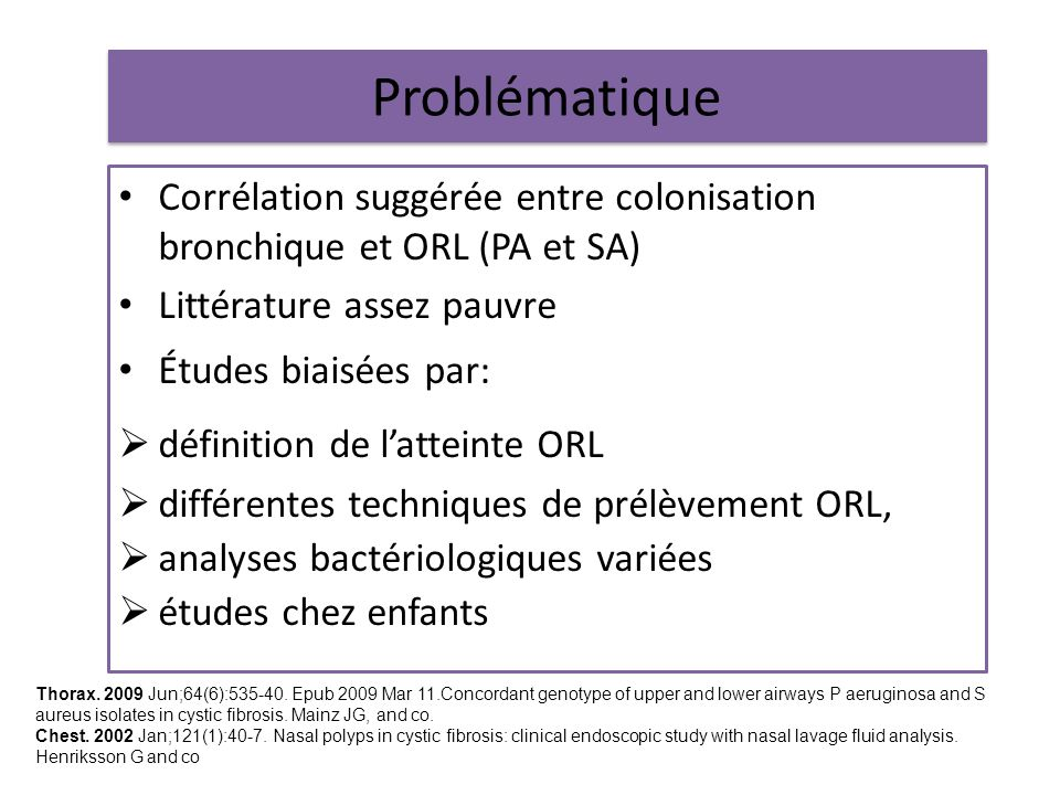 Problématique Corrélation suggérée entre colonisation bronchique et ORL (PA et SA) Littérature assez pauvre.