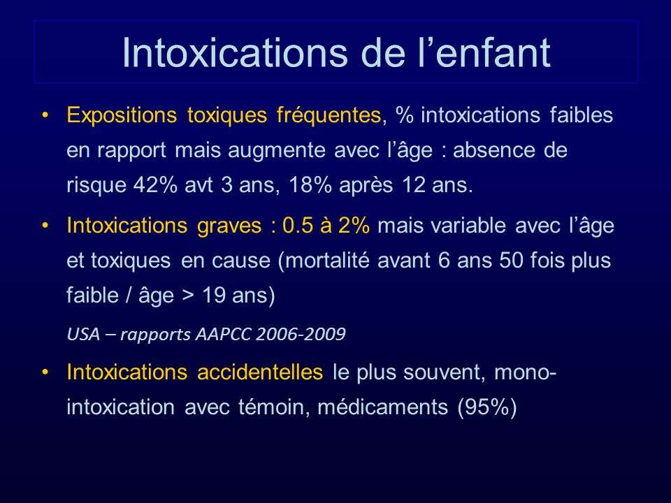 Intoxications de l'enfant