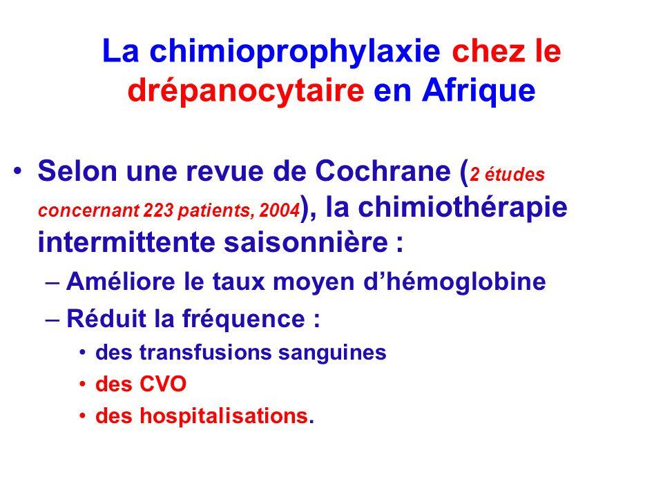La chimioprophylaxie chez le drépanocytaire en Afrique