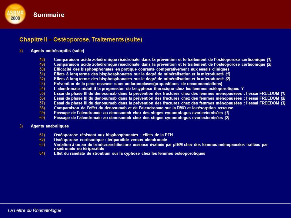 Sommaire Chapitre II – Ostéoporose. Traitements (suite)