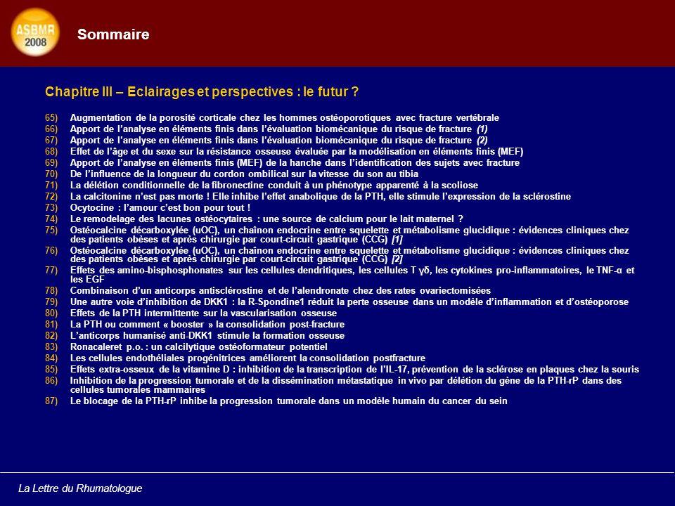 Sommaire Chapitre III – Eclairages et perspectives : le futur
