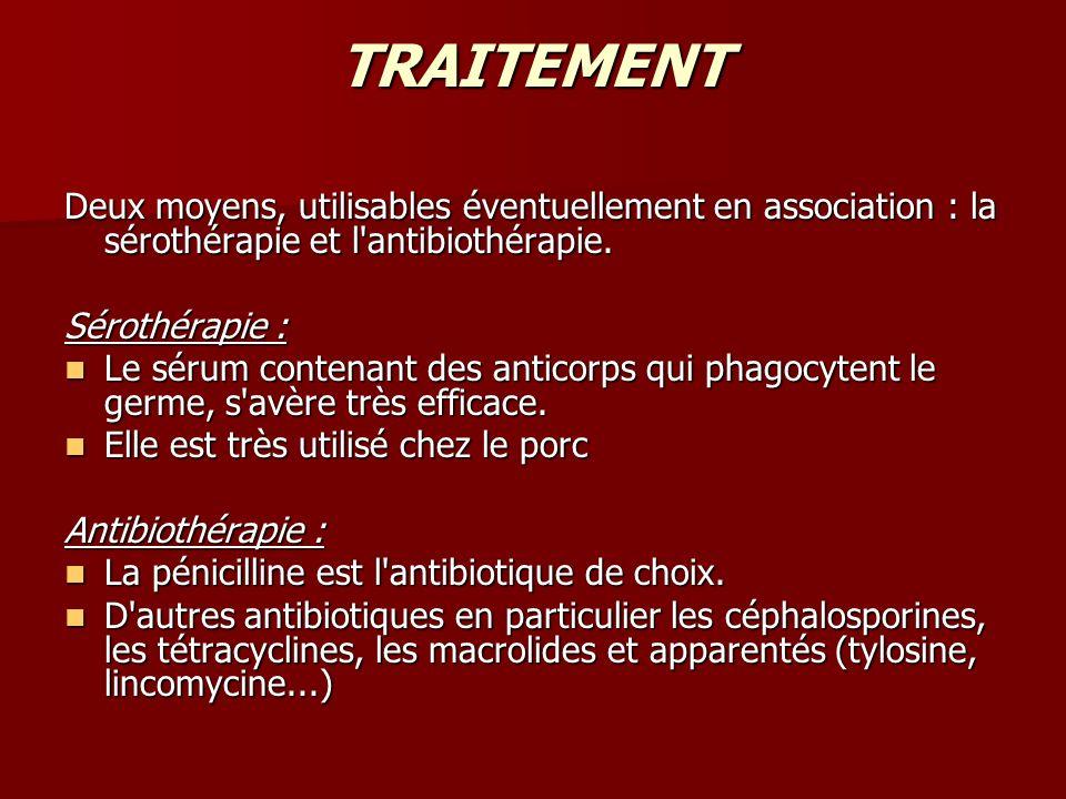 TRAITEMENT Deux moyens, utilisables éventuellement en association : la sérothérapie et l antibiothérapie.