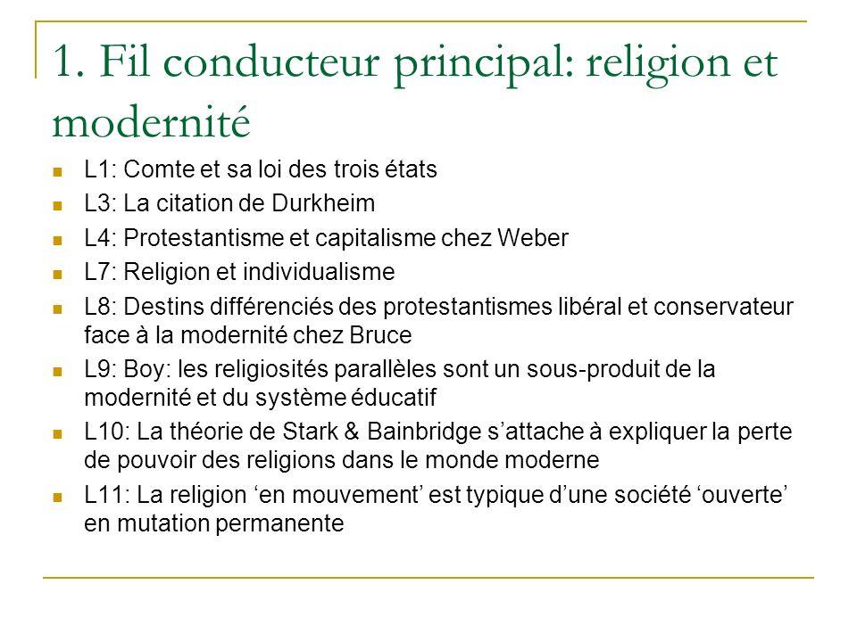 1. Fil conducteur principal: religion et modernité
