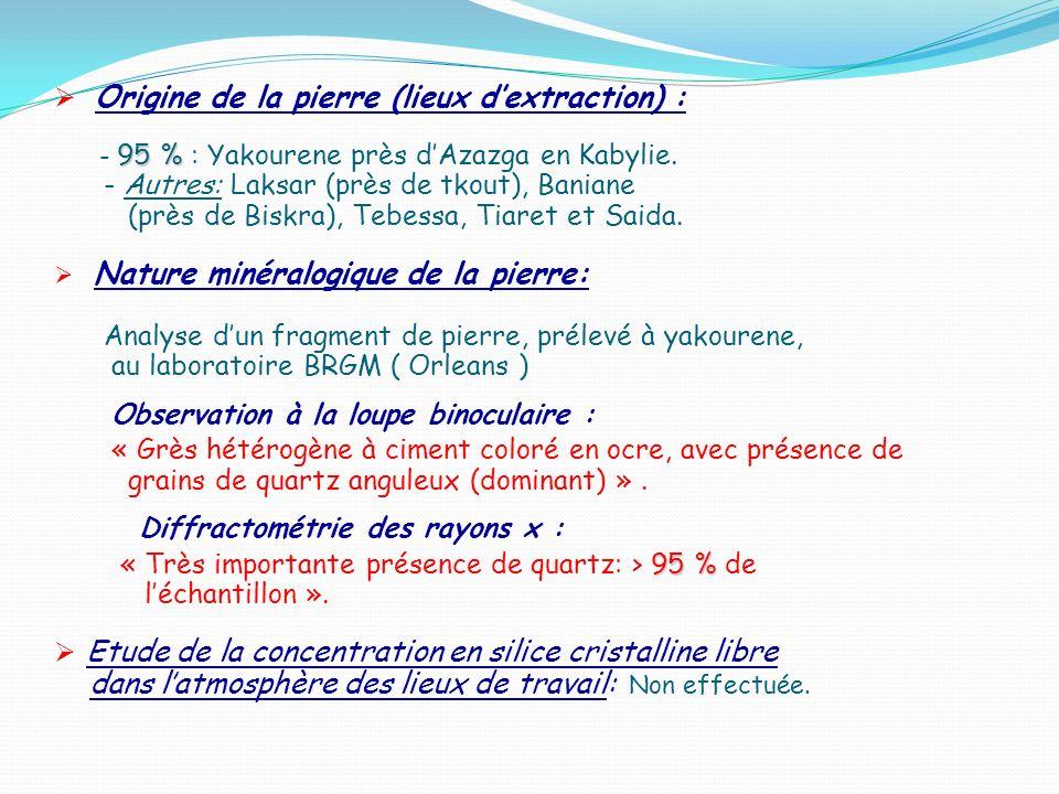Origine de la pierre (lieux d'extraction) :