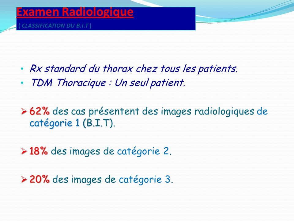 Examen Radiologique ( CLASSIFICATION DU B.I.T )