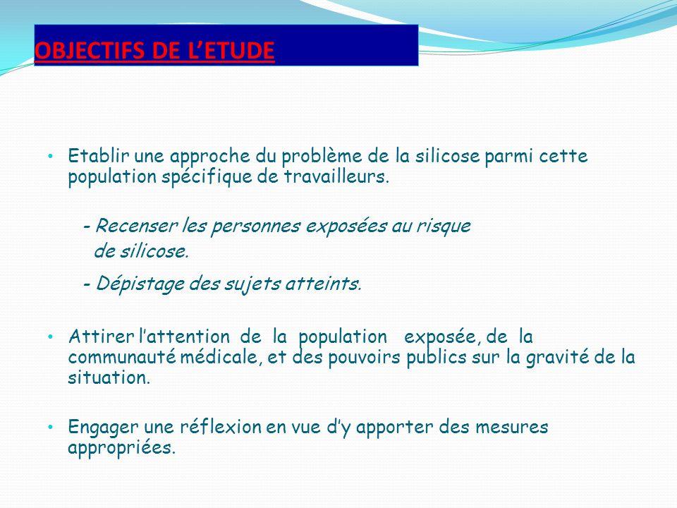 OBJECTIFS DE L'ETUDE Etablir une approche du problème de la silicose parmi cette population spécifique de travailleurs.