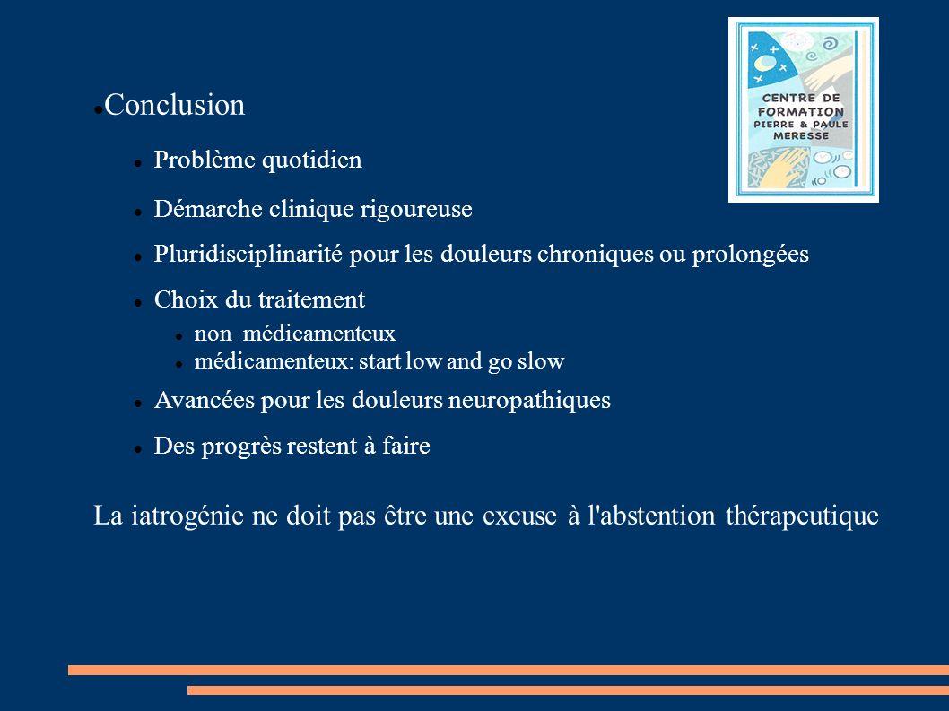 Conclusion Problème quotidien. Démarche clinique rigoureuse. Pluridisciplinarité pour les douleurs chroniques ou prolongées.