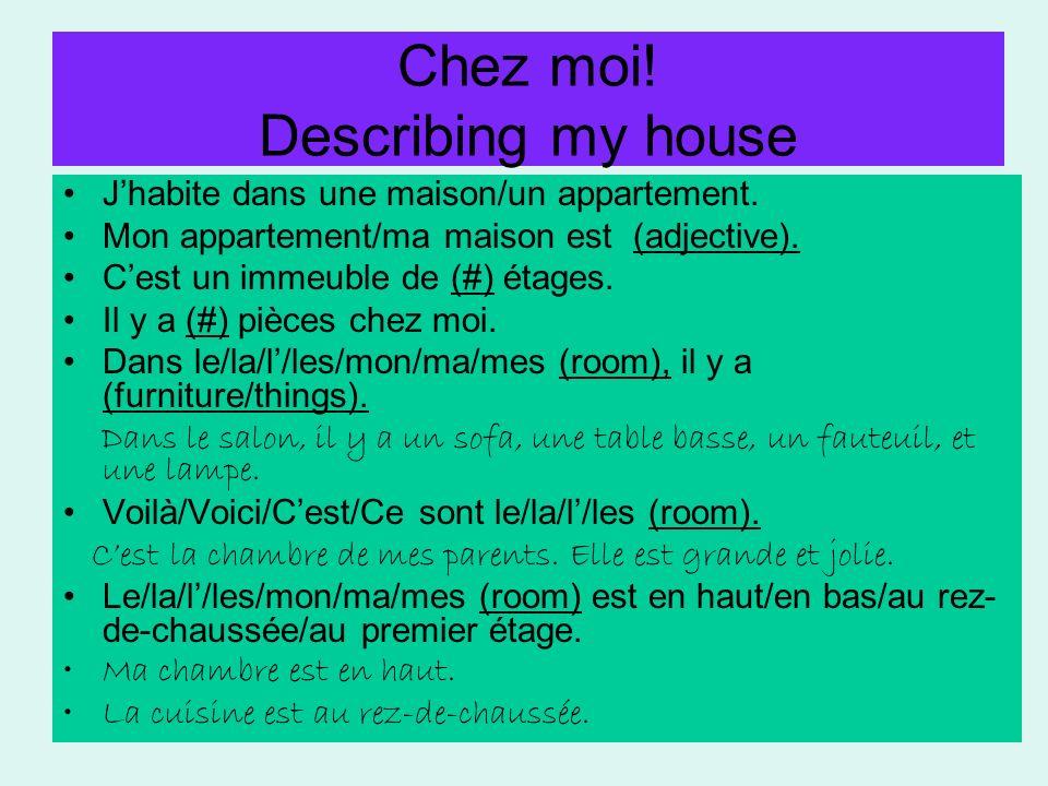 Chez moi! Describing my house