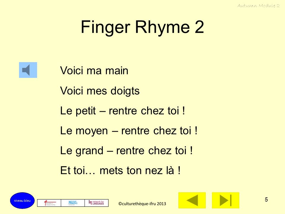 Finger Rhyme 2 Voici ma main Voici mes doigts