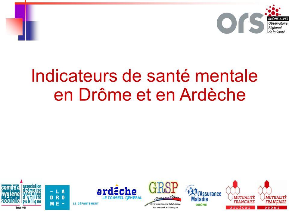 Indicateurs de santé mentale en Drôme et en Ardèche