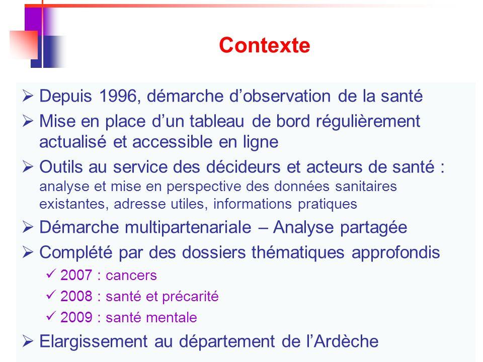 Contexte Depuis 1996, démarche d'observation de la santé