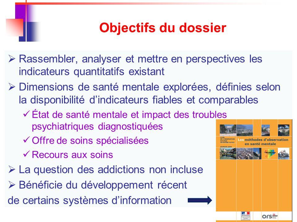 Objectifs du dossier Rassembler, analyser et mettre en perspectives les indicateurs quantitatifs existant.