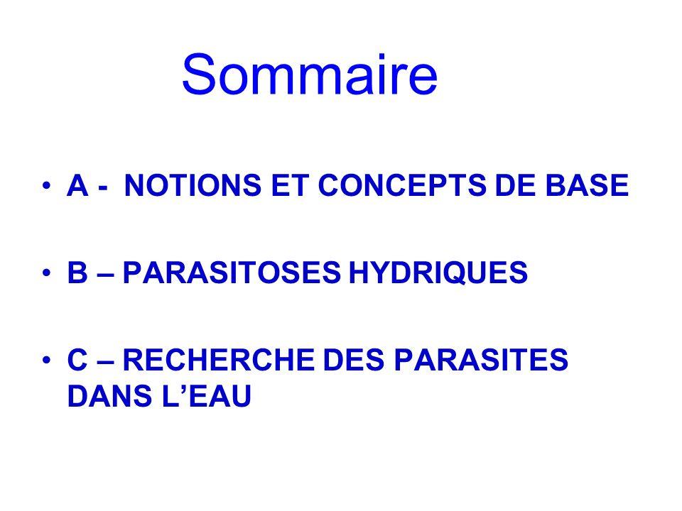 Sommaire A - NOTIONS ET CONCEPTS DE BASE B – PARASITOSES HYDRIQUES