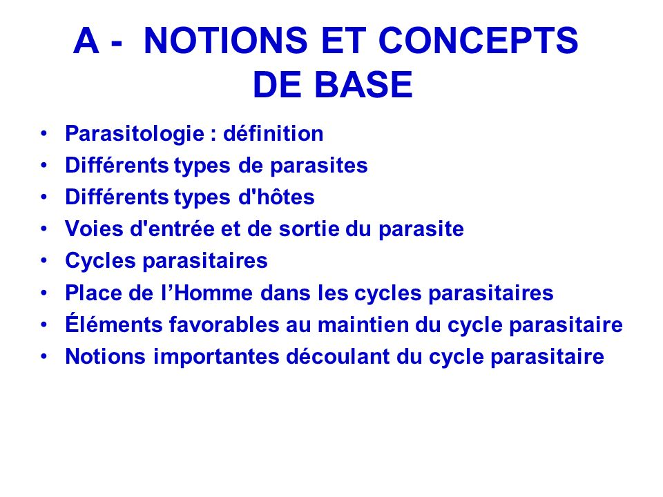 A - NOTIONS ET CONCEPTS DE BASE