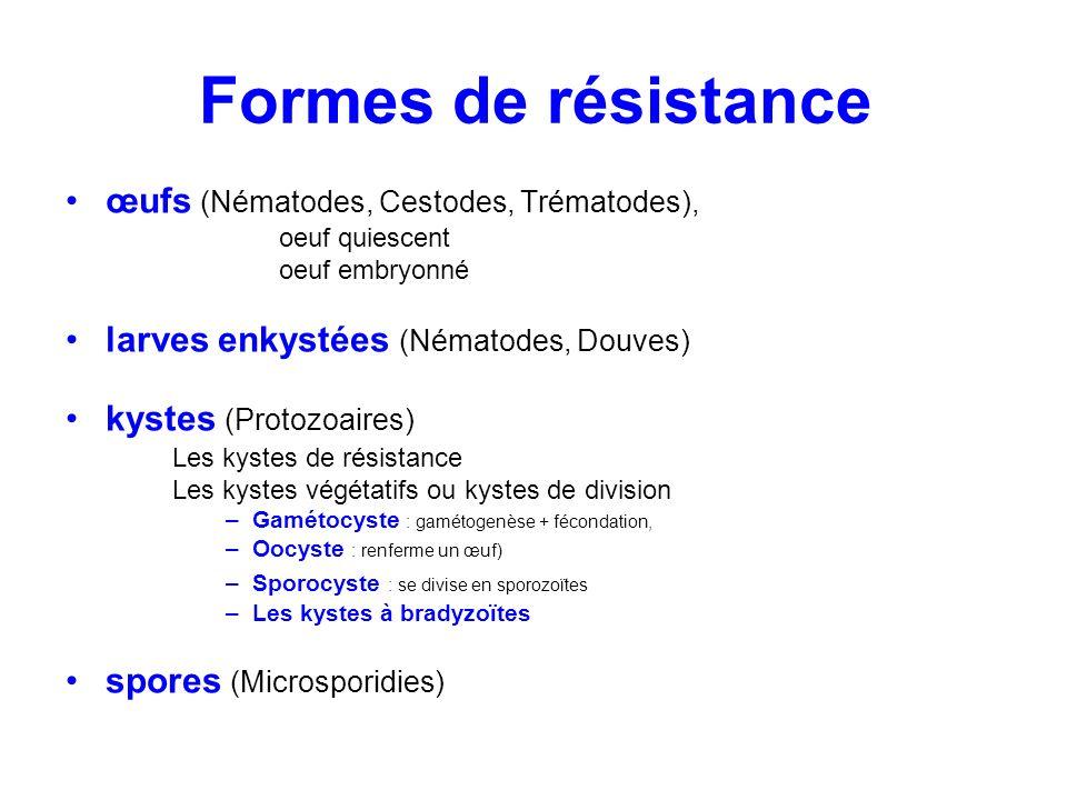 Formes de résistance œufs (Nématodes, Cestodes, Trématodes),