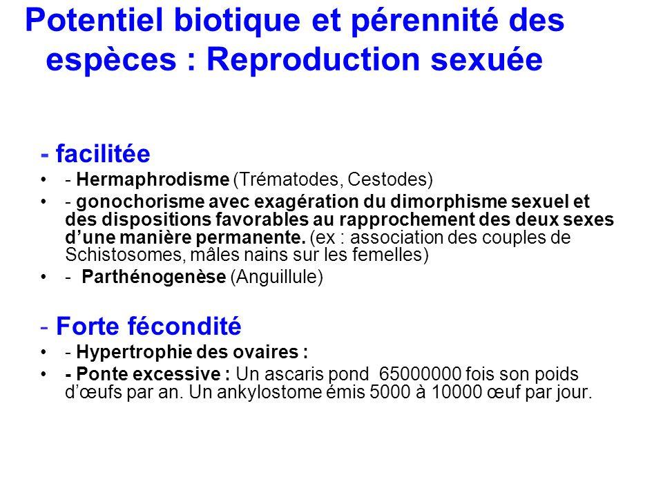 Potentiel biotique et pérennité des espèces : Reproduction sexuée
