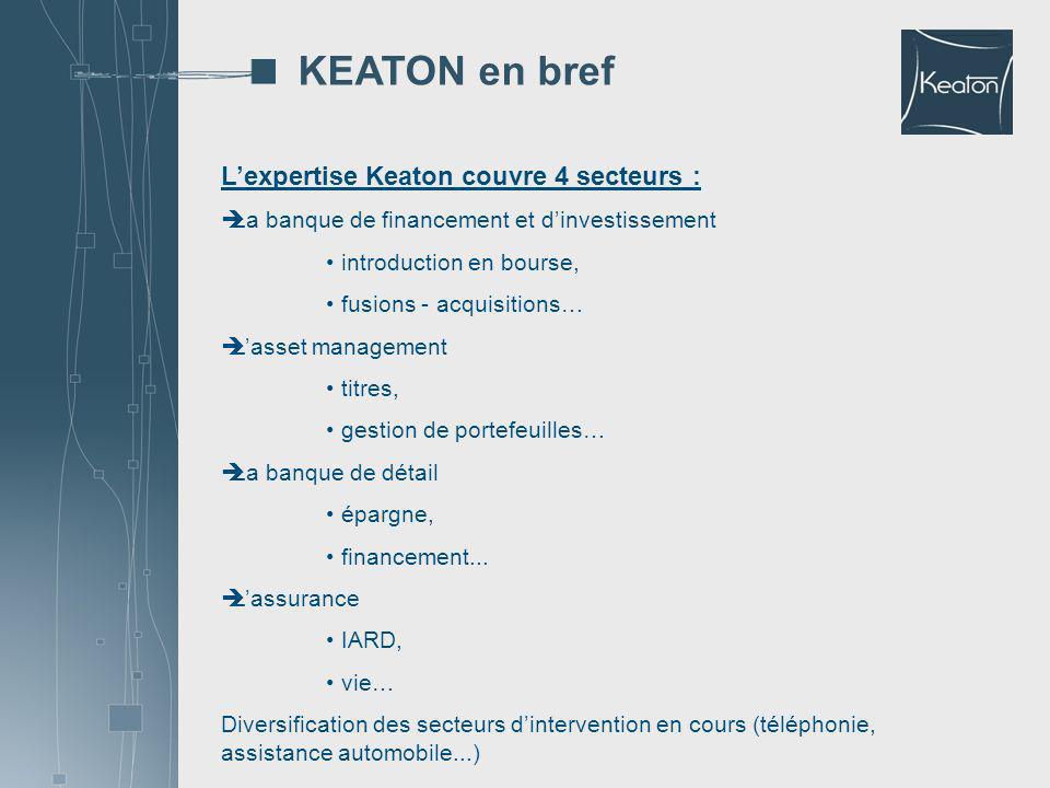 KEATON en bref L'expertise Keaton couvre 4 secteurs :