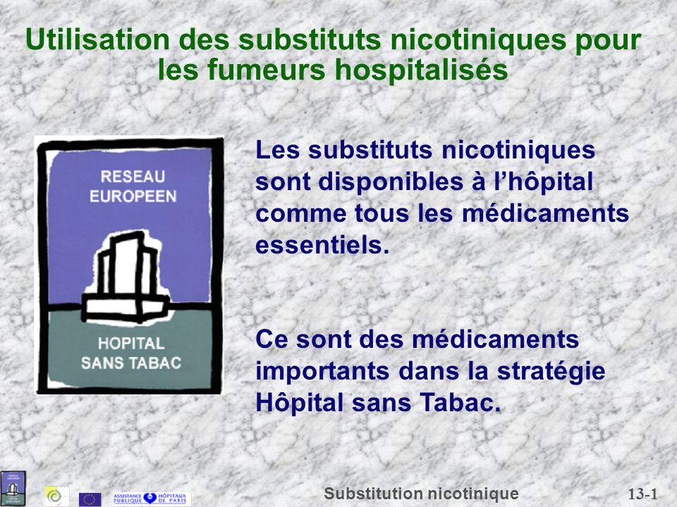 Utilisation des substituts nicotiniques pour les fumeurs hospitalisés