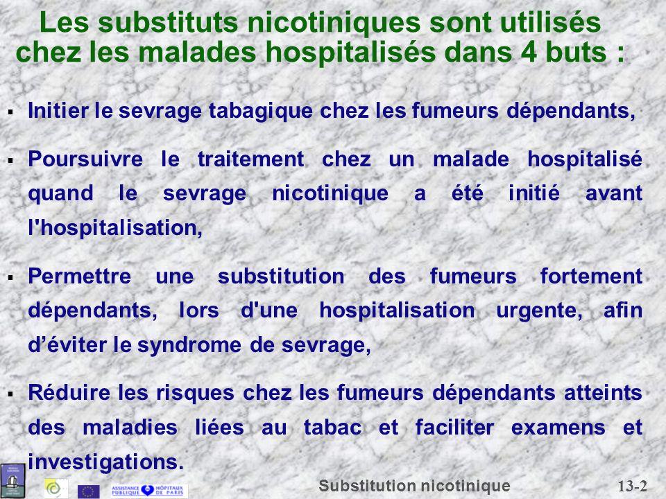 Les substituts nicotiniques sont utilisés chez les malades hospitalisés dans 4 buts :