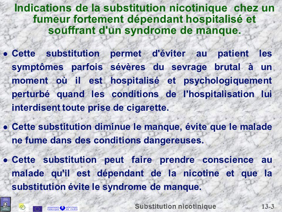 Indications de la substitution nicotinique chez un fumeur fortement dépendant hospitalisé et souffrant d un syndrome de manque.