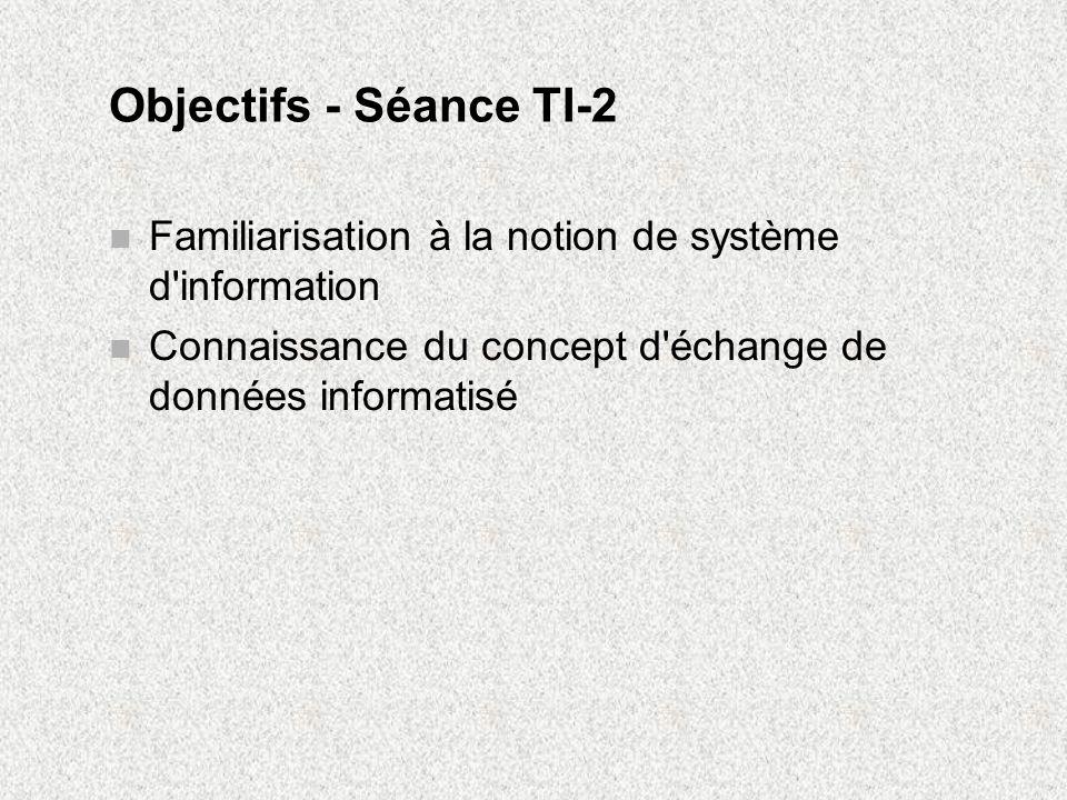Objectifs - Séance TI-2 Familiarisation à la notion de système d information.
