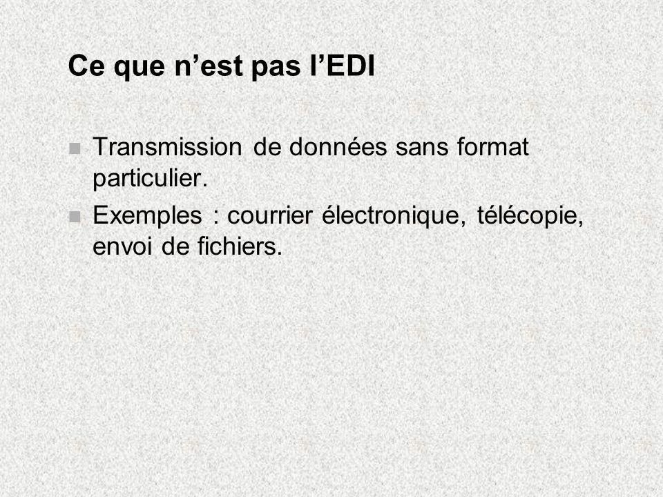 Ce que n'est pas l'EDI Transmission de données sans format particulier.