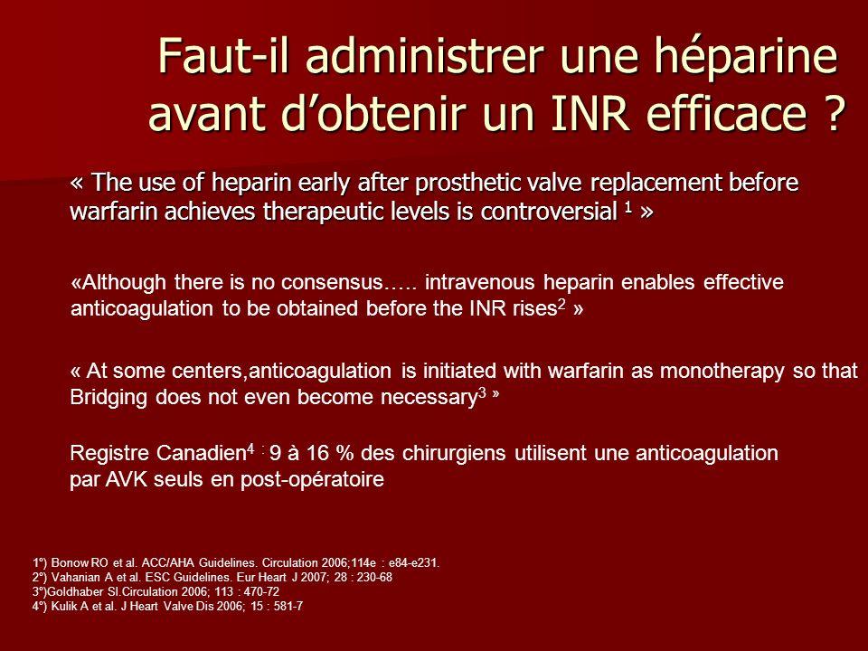 Faut-il administrer une héparine avant d'obtenir un INR efficace
