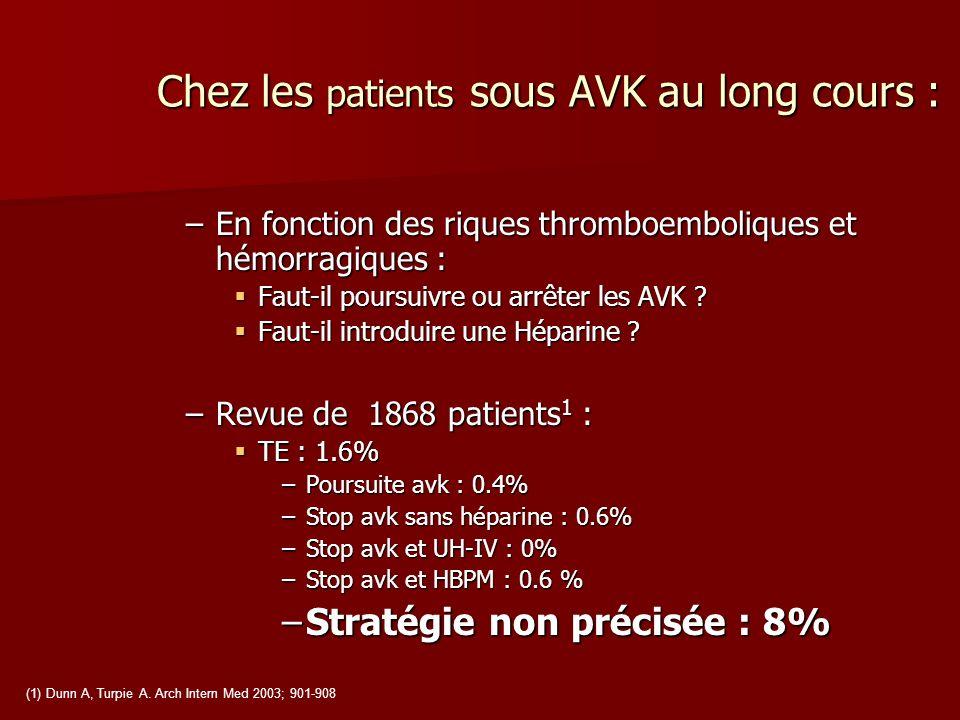 Chez les patients sous AVK au long cours :