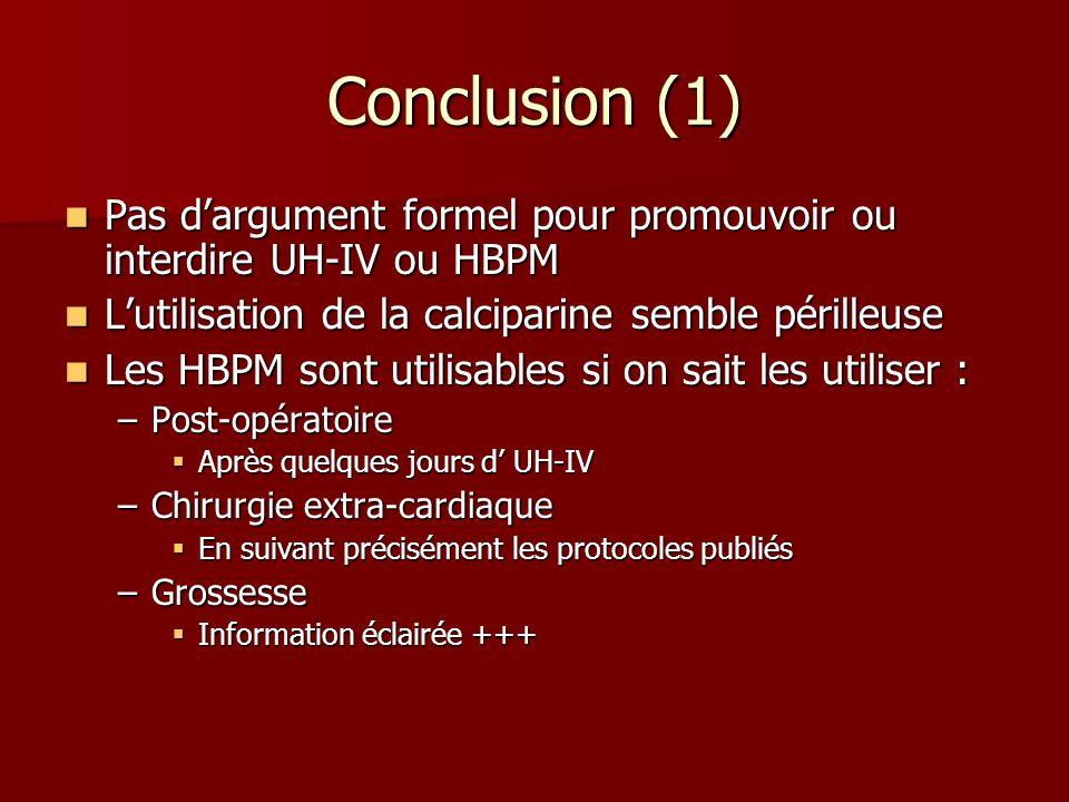 Conclusion (1) Pas d'argument formel pour promouvoir ou interdire UH-IV ou HBPM. L'utilisation de la calciparine semble périlleuse.
