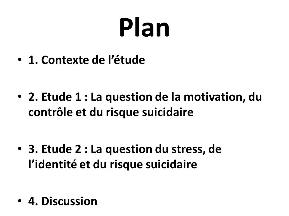 Plan 1. Contexte de l'étude