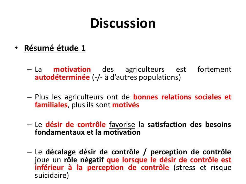 Discussion Résumé étude 1