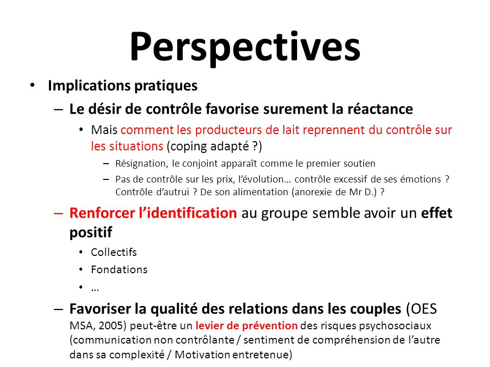 Perspectives Implications pratiques