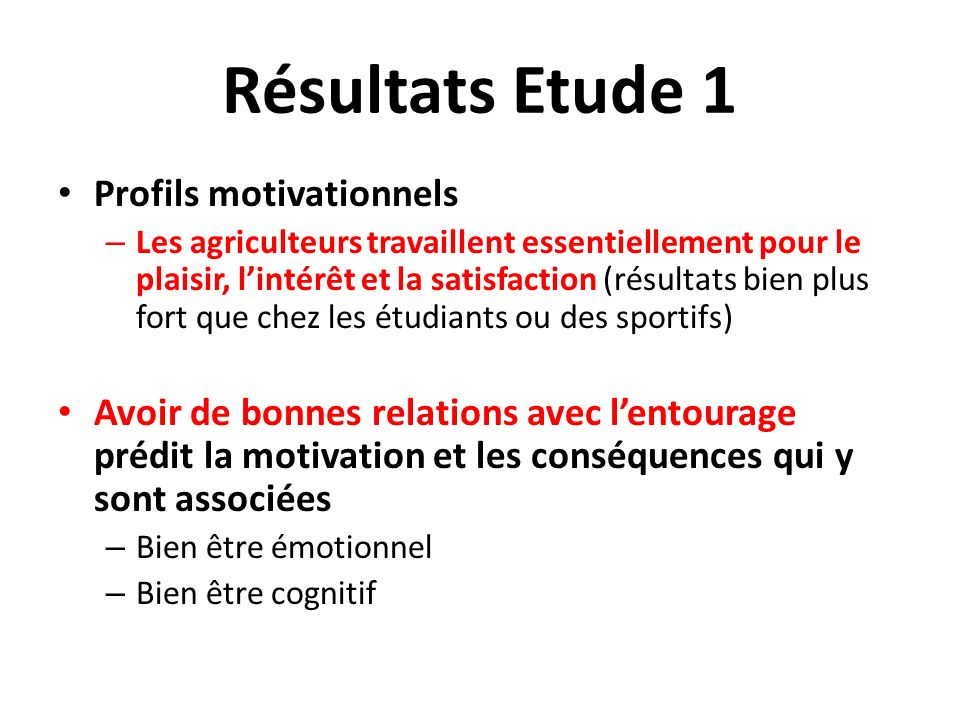 Résultats Etude 1 Profils motivationnels