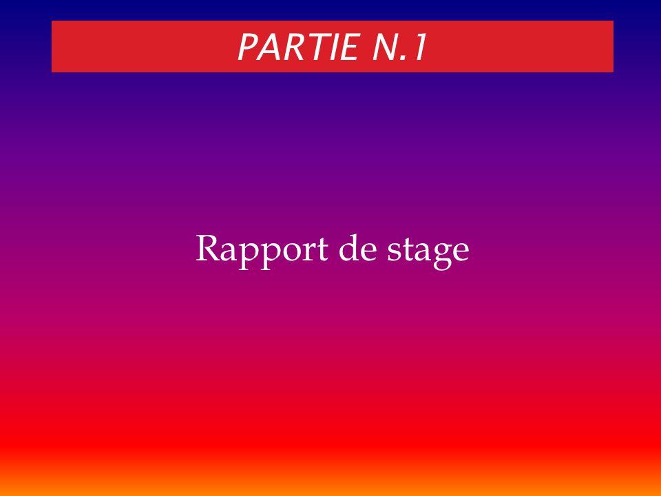 Partie N.1 Rapport de stage