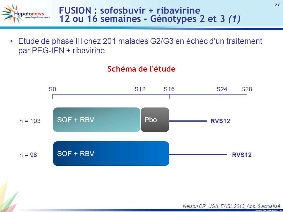 FUSION : sofosbuvir + ribavirine 12 ou 16 semaines - Génotypes 2 et 3 (1)