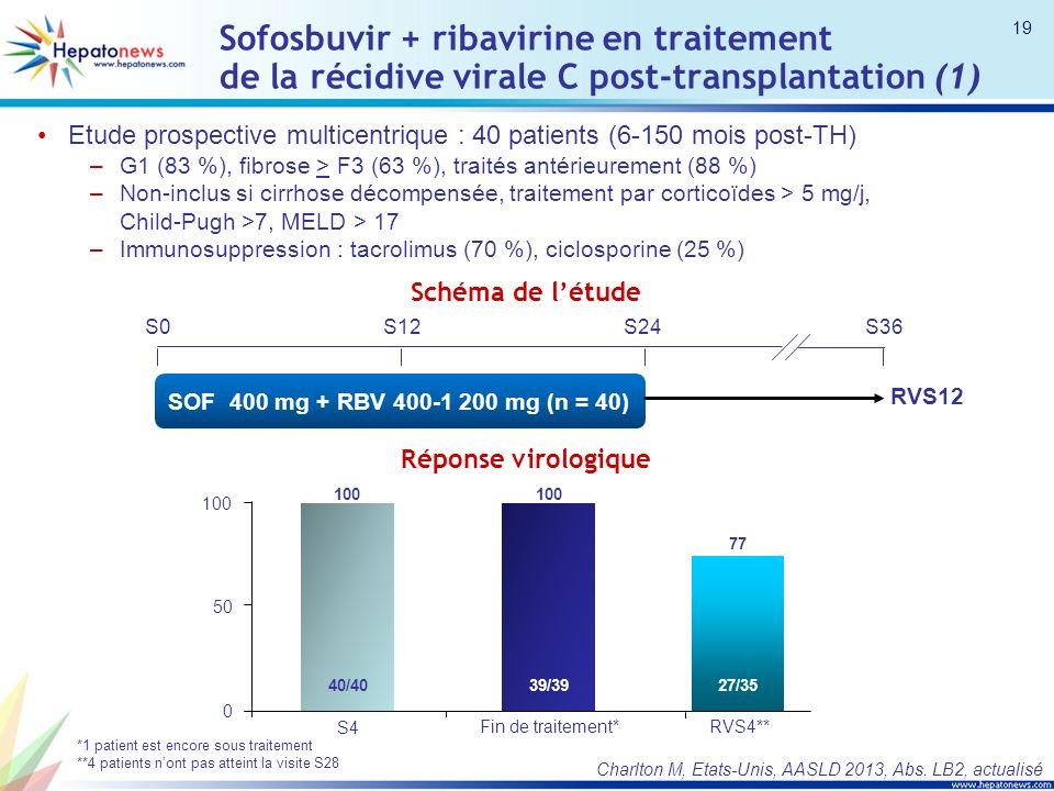 Sofosbuvir + ribavirine en traitement de la récidive virale C post-transplantation (1)