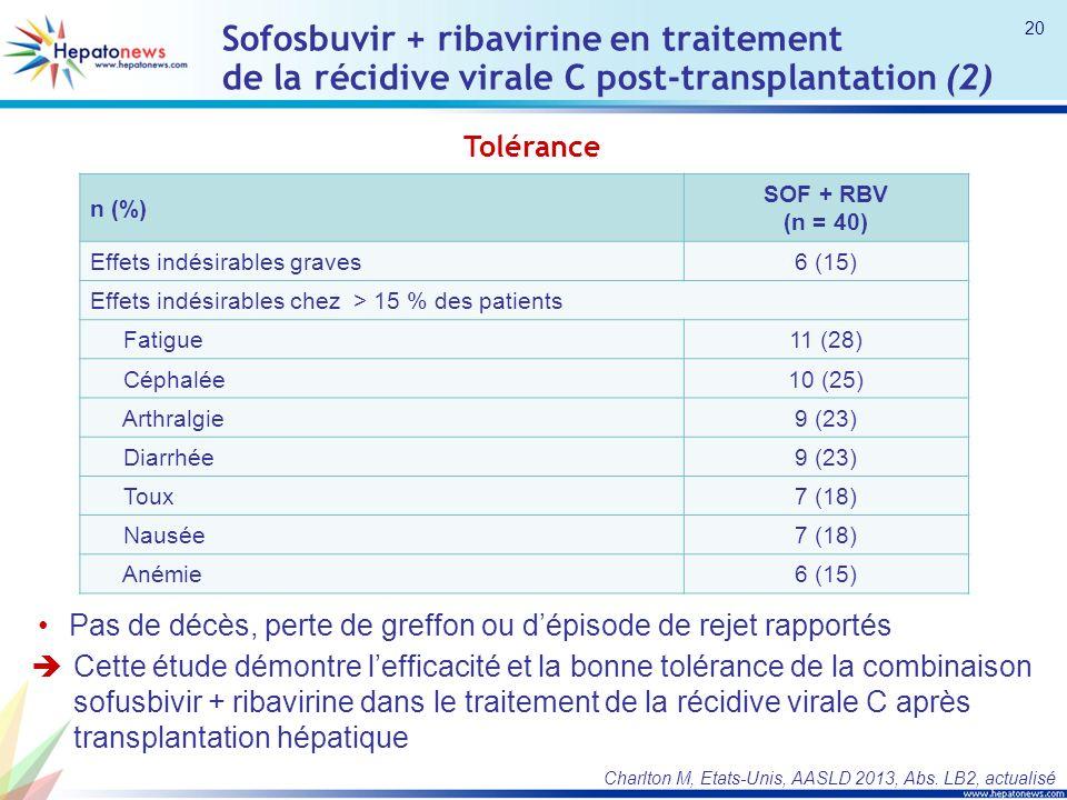 Sofosbuvir + ribavirine en traitement de la récidive virale C post-transplantation (2)