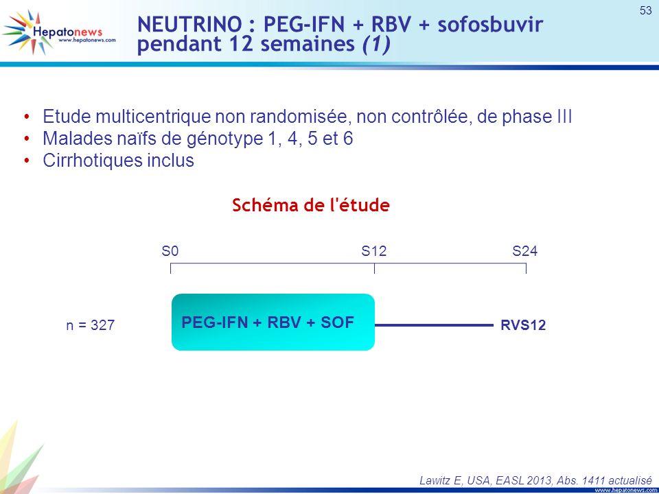 NEUTRINO : PEG-IFN + RBV + sofosbuvir pendant 12 semaines (1)