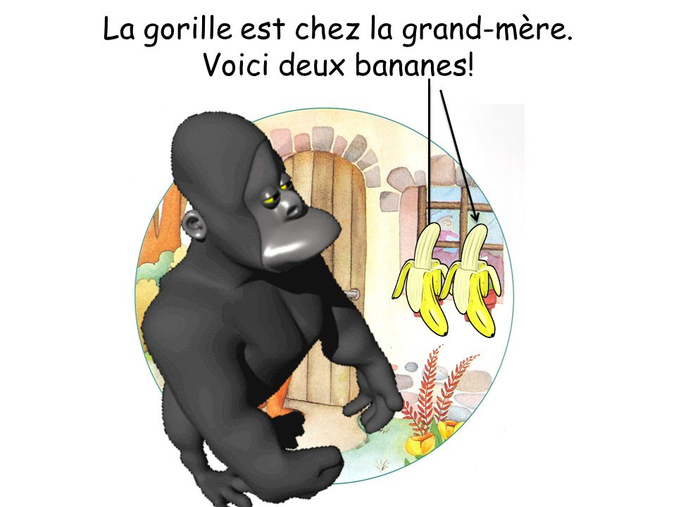 La gorille est chez la grand-mère. Voici deux bananes!
