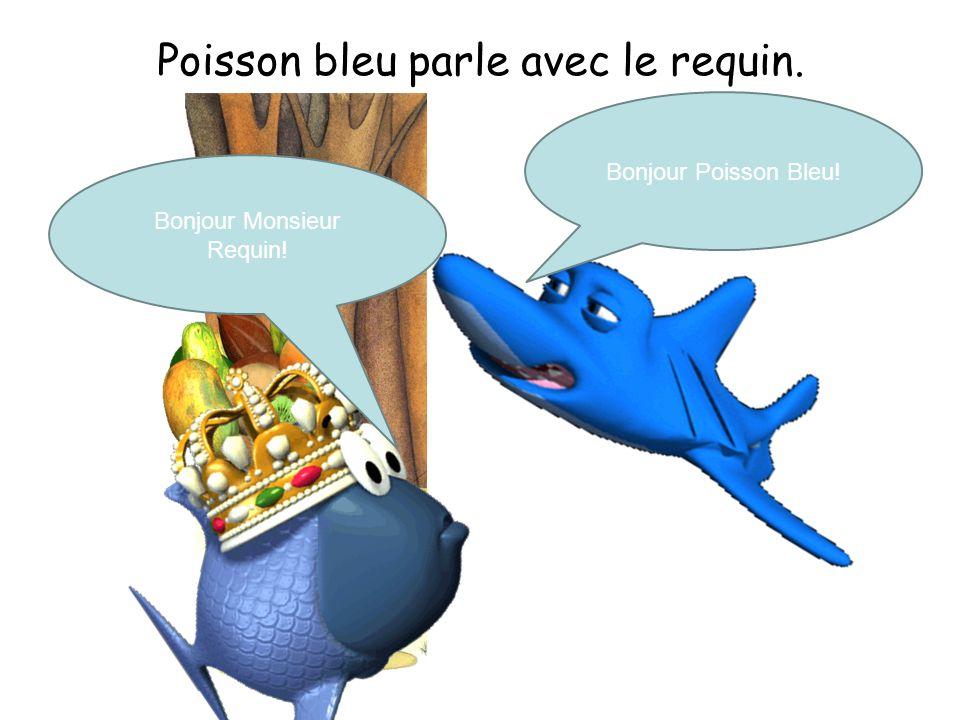 Poisson bleu parle avec le requin.