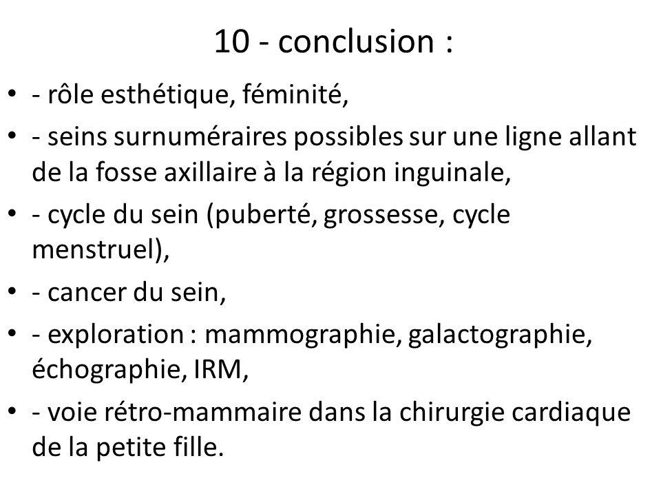 10 - conclusion : - rôle esthétique, féminité,