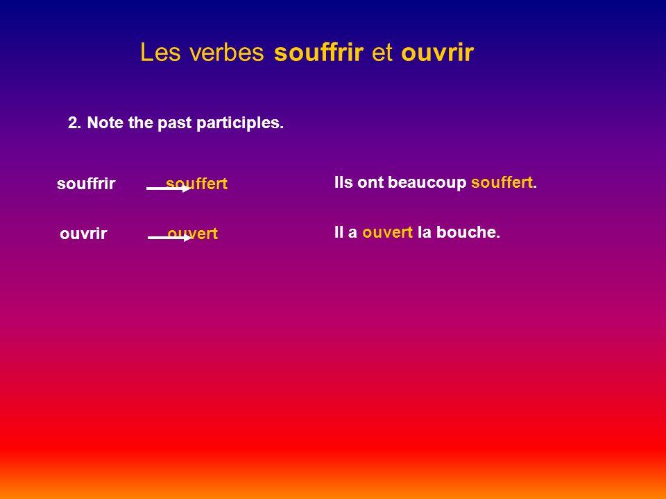 Les verbes souffrir et ouvrir